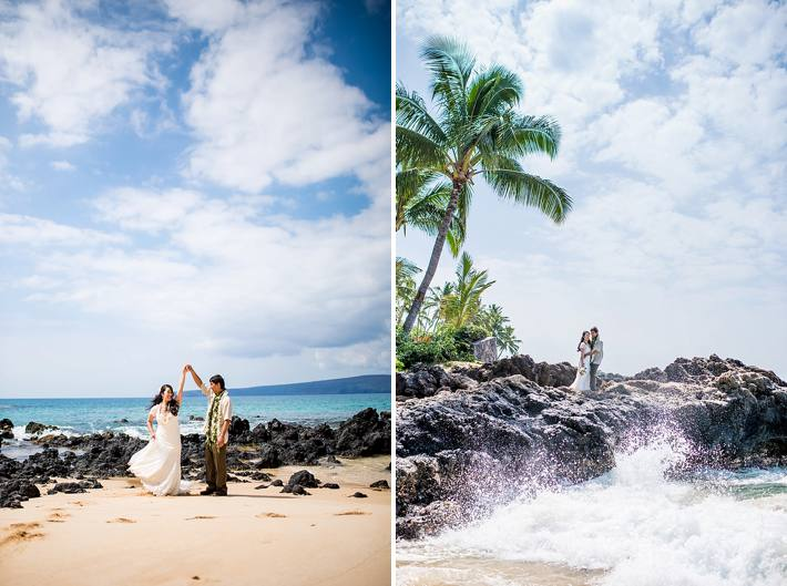 makena cove wedding photos morning