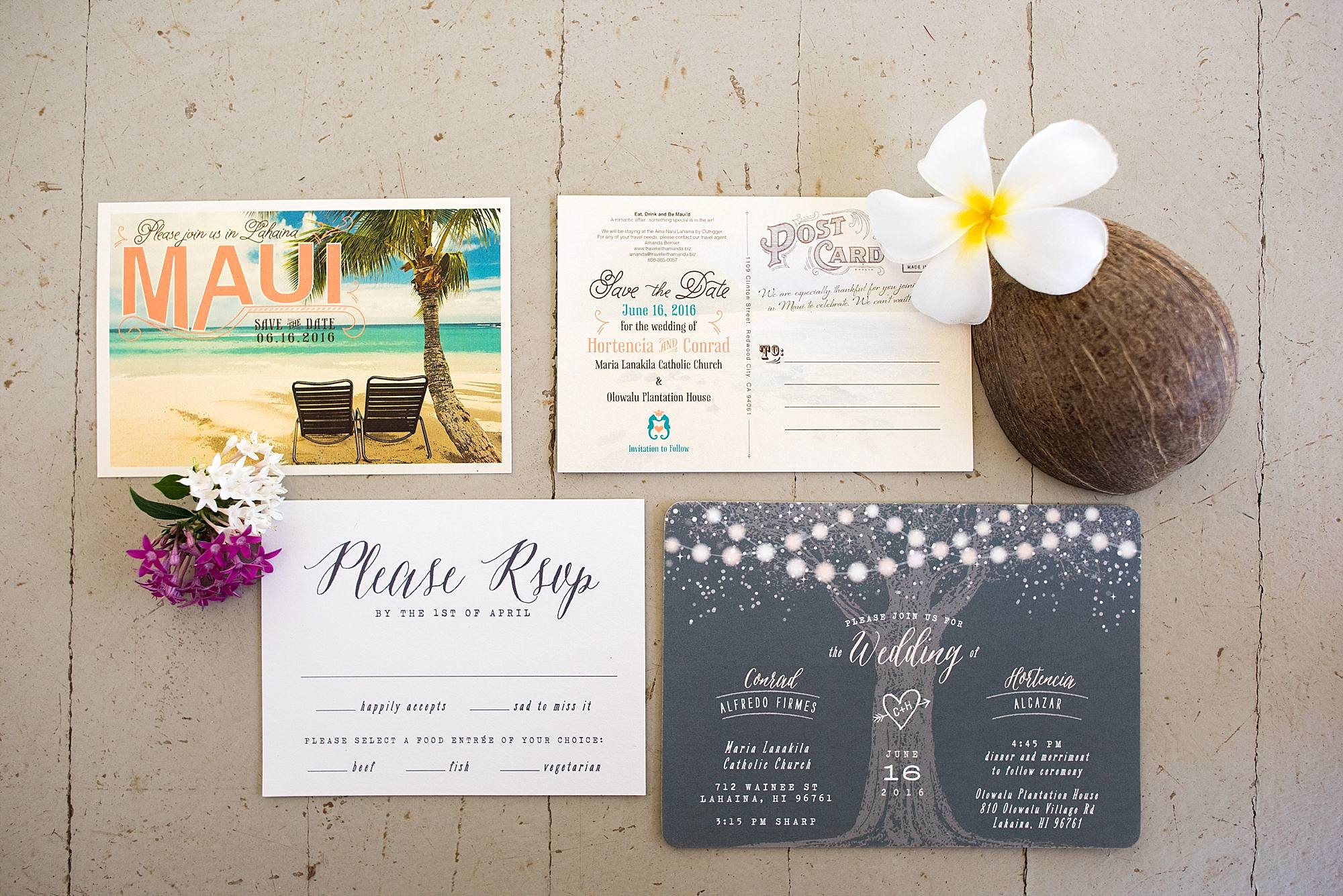 Custom Maui wedding stationary