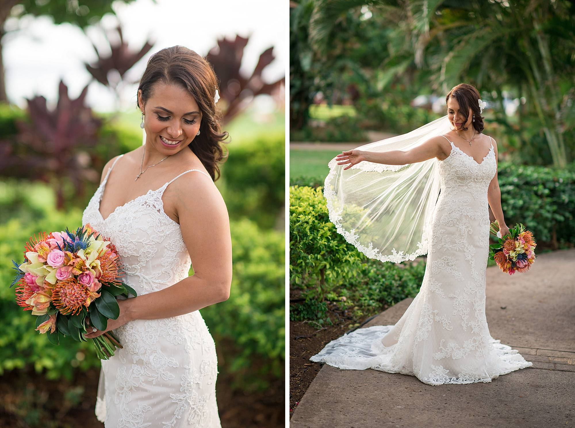 bridal portraits at olowalu plantation house