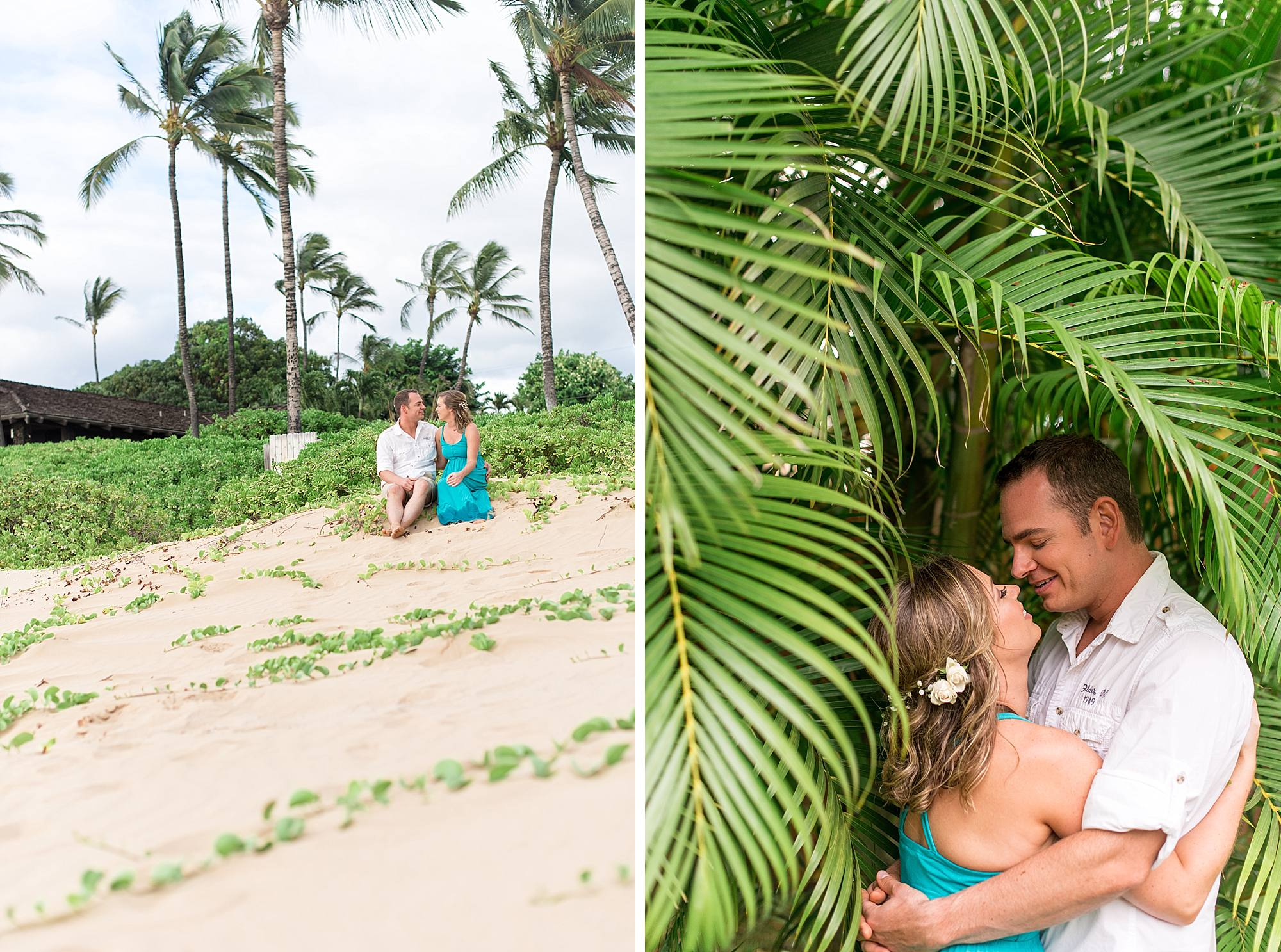 engagement couple with palm trees in hawaii
