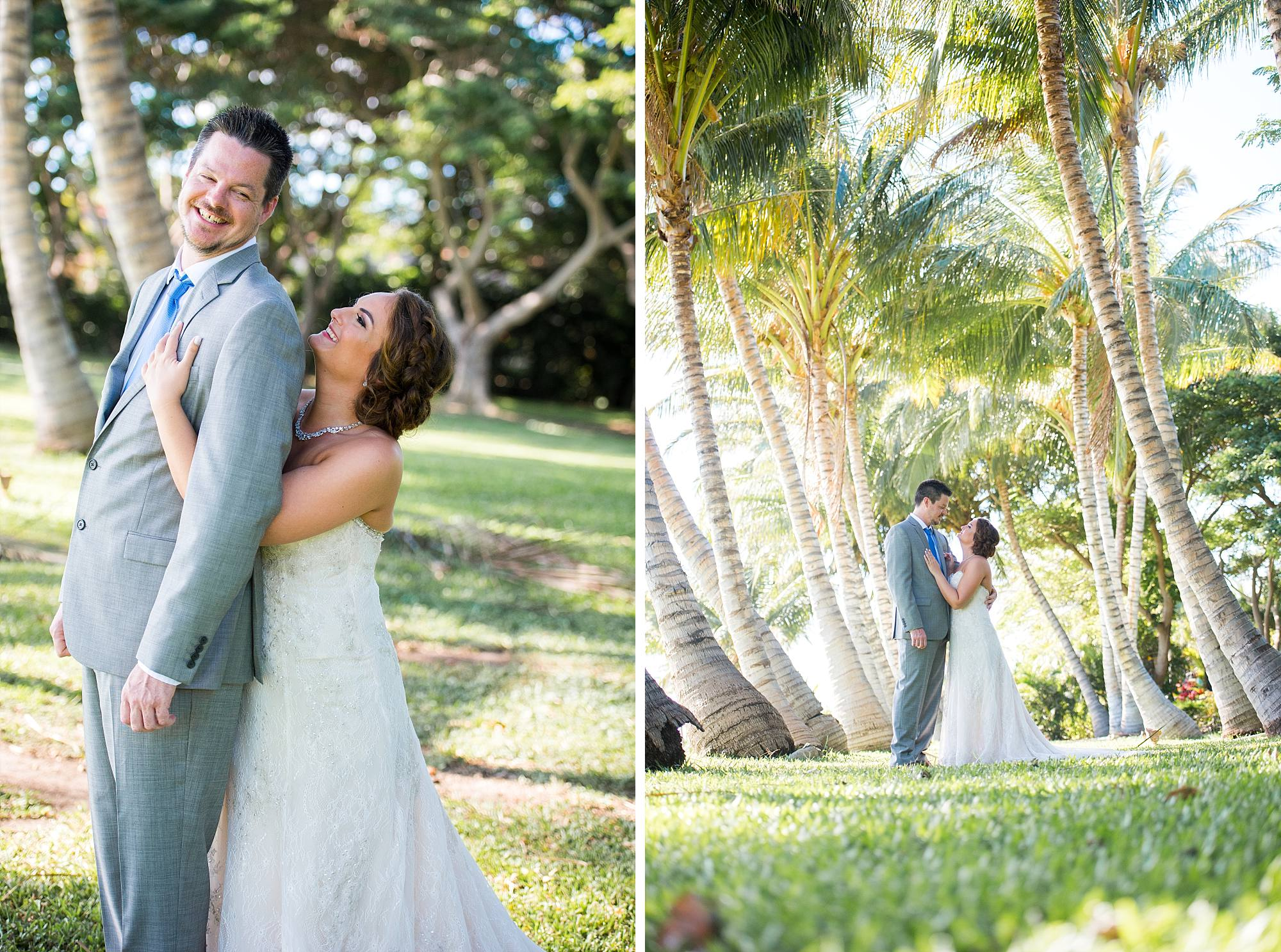 bride and groom happy in the palm trees