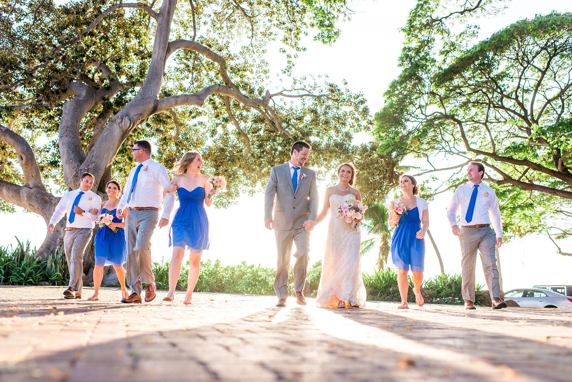 bridal party walking