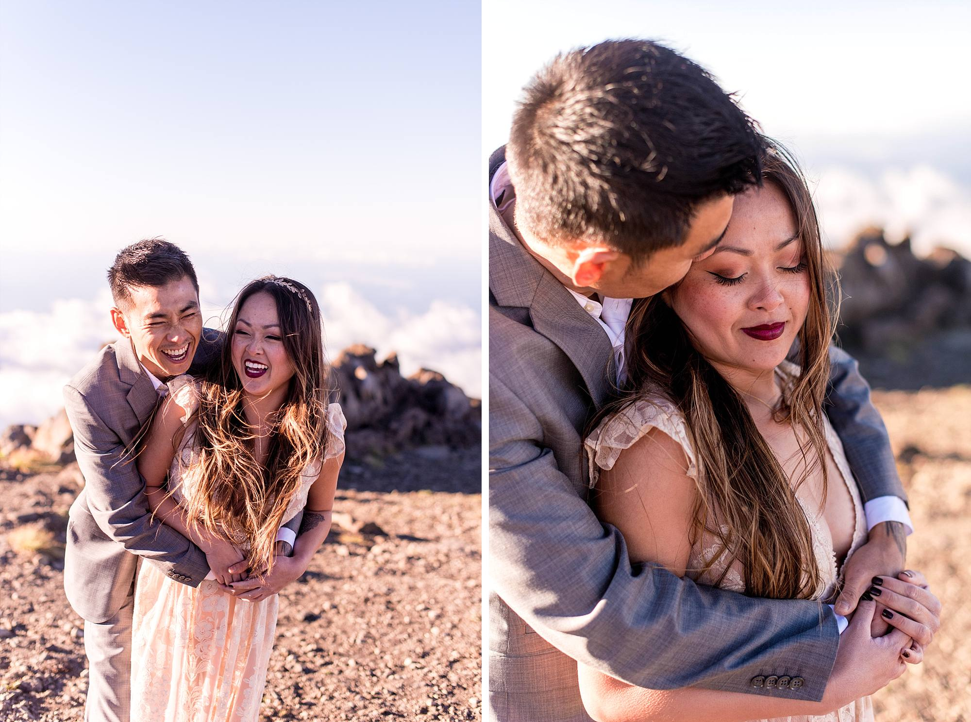 couple laughing and groom with arms wrapped around his bride