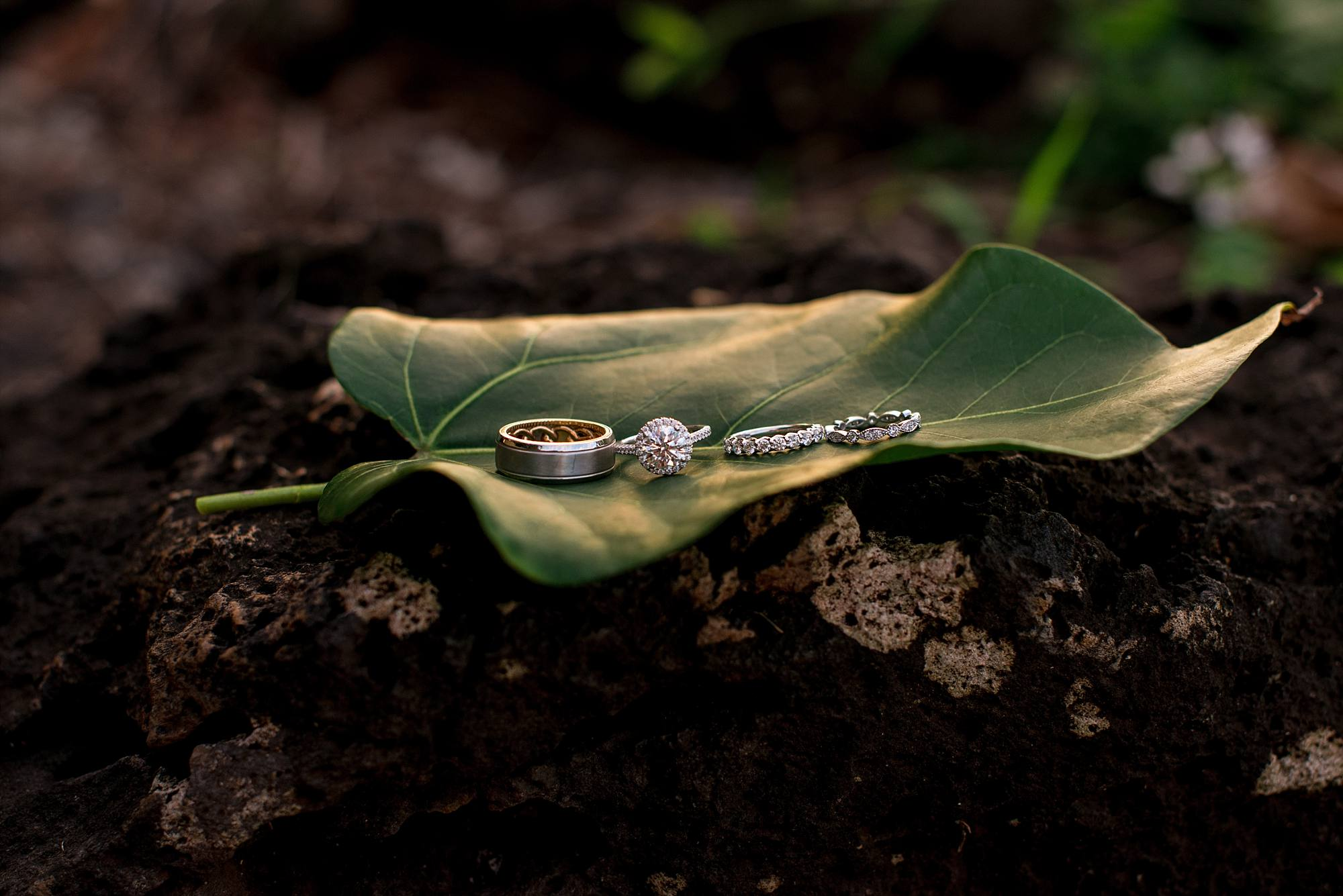 wedding ring set on leaf