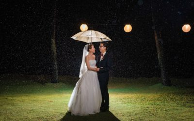 Rainy White Orchid Beach House Wedding | Lok + Jina