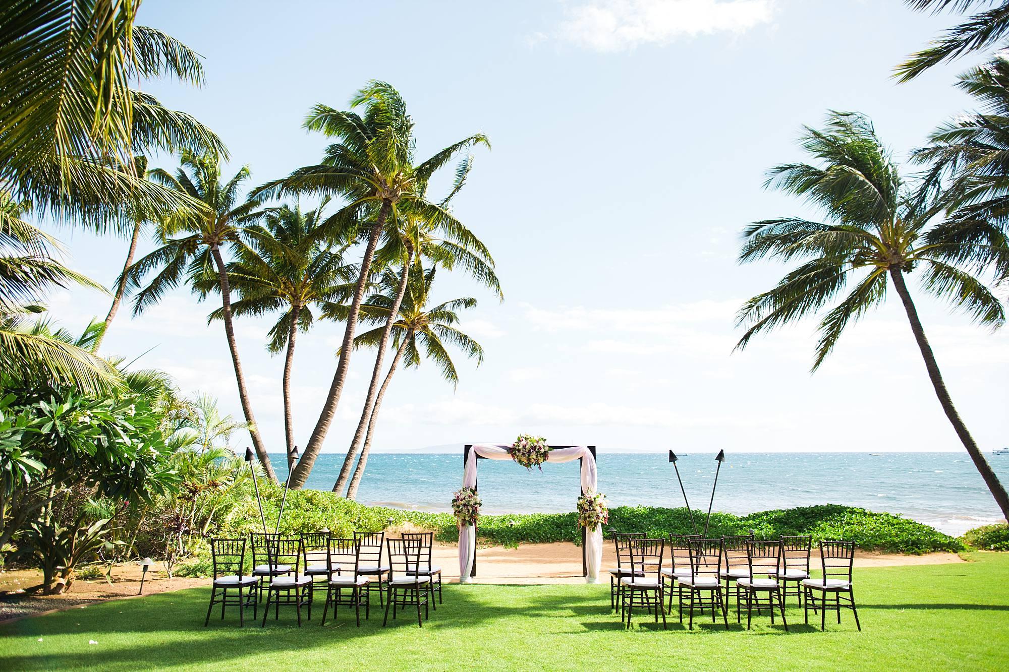 Wedding set up on Sugar Beach Maui