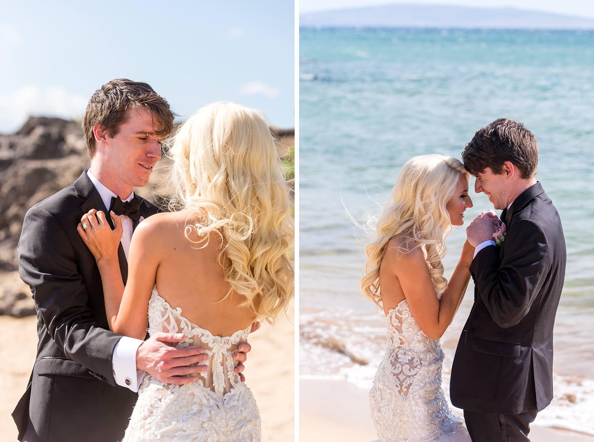 bride and groom's first look beside the ocean