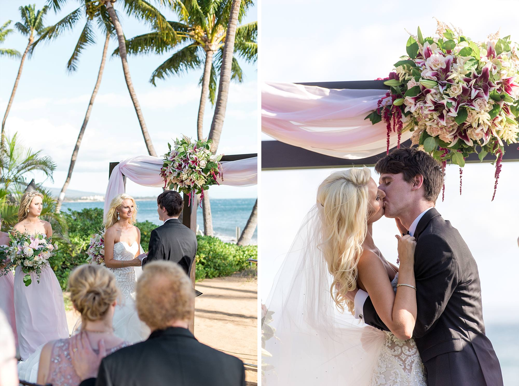 bride and groom share their first kiss as husband and wife! Beautiful Maui location