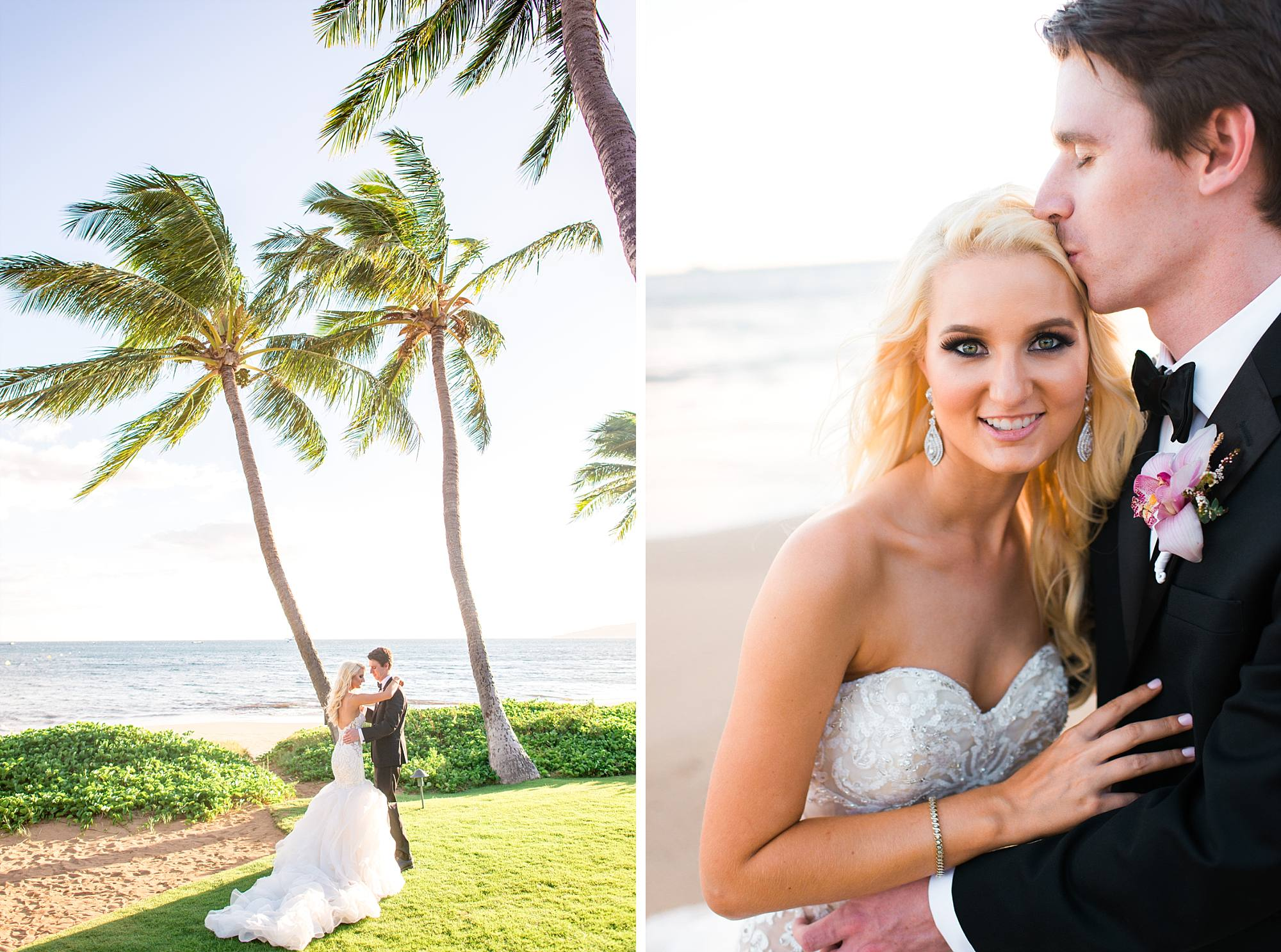 Luxurious Maui Wedding at Sugar Beach Events sweetheart shots with the Maui landscape behind them