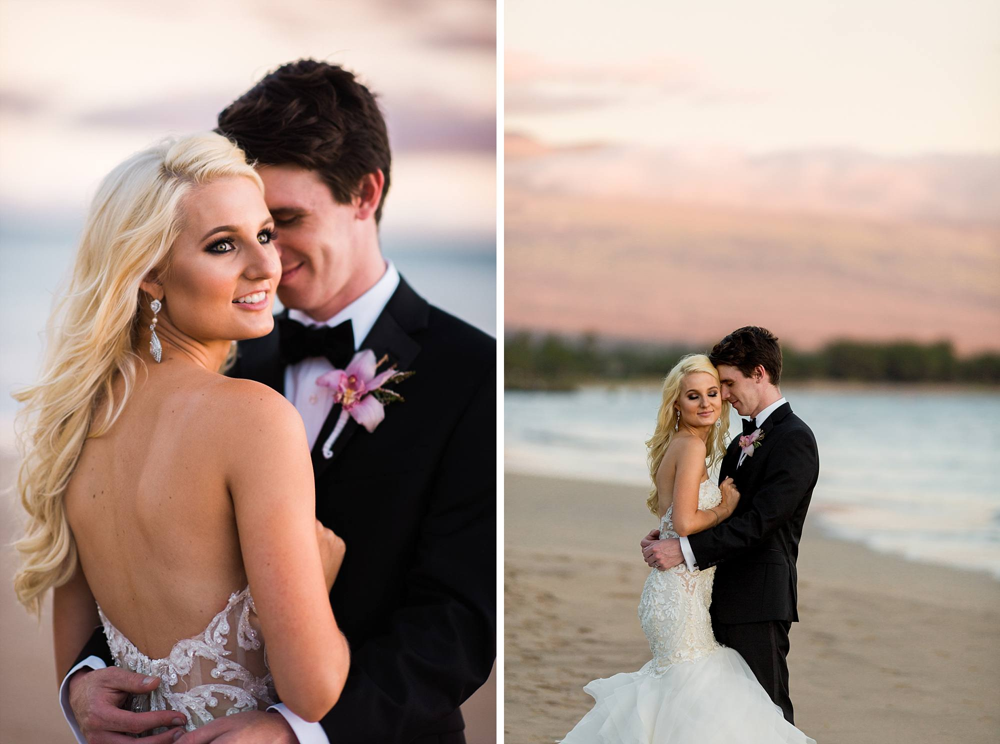 bride and groom snuggling at sunset on Sugar Beach