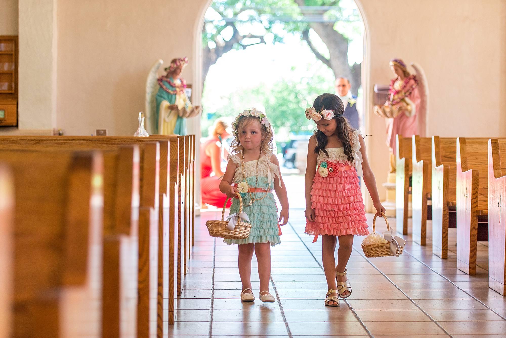 flower girls at maria lanakila catholic church