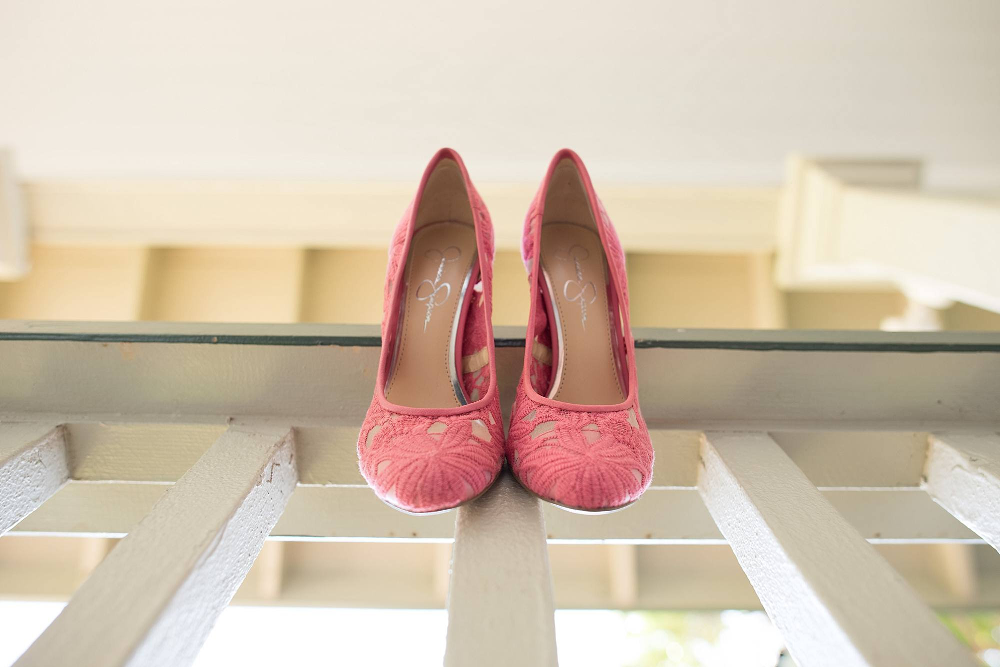 pink Jessica simpson heels as wedding shoes