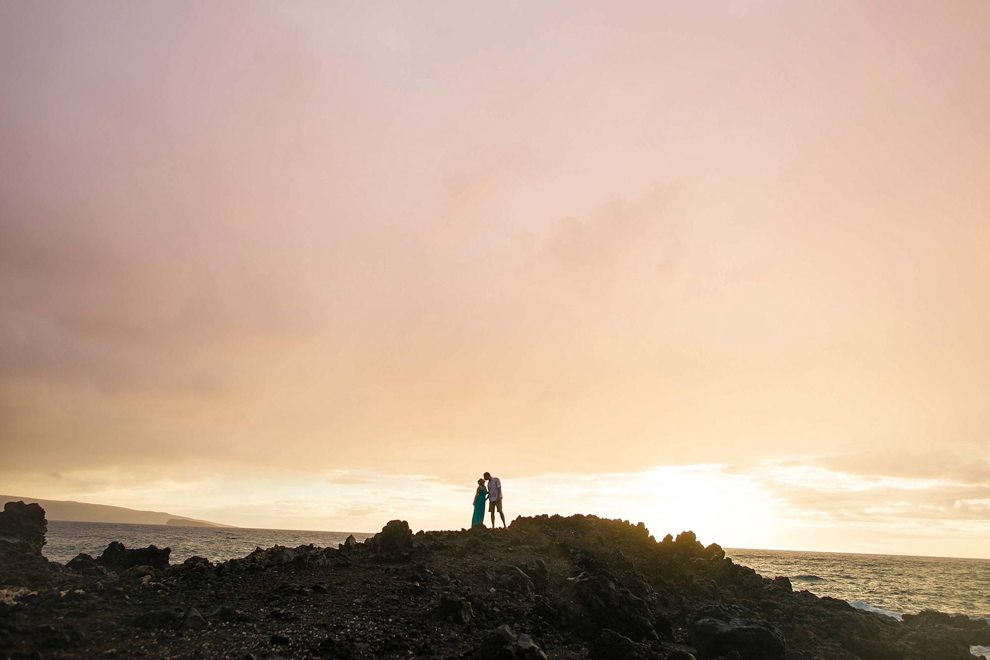 stunning engagement photo at the kukahiko estate in maui, hawaii