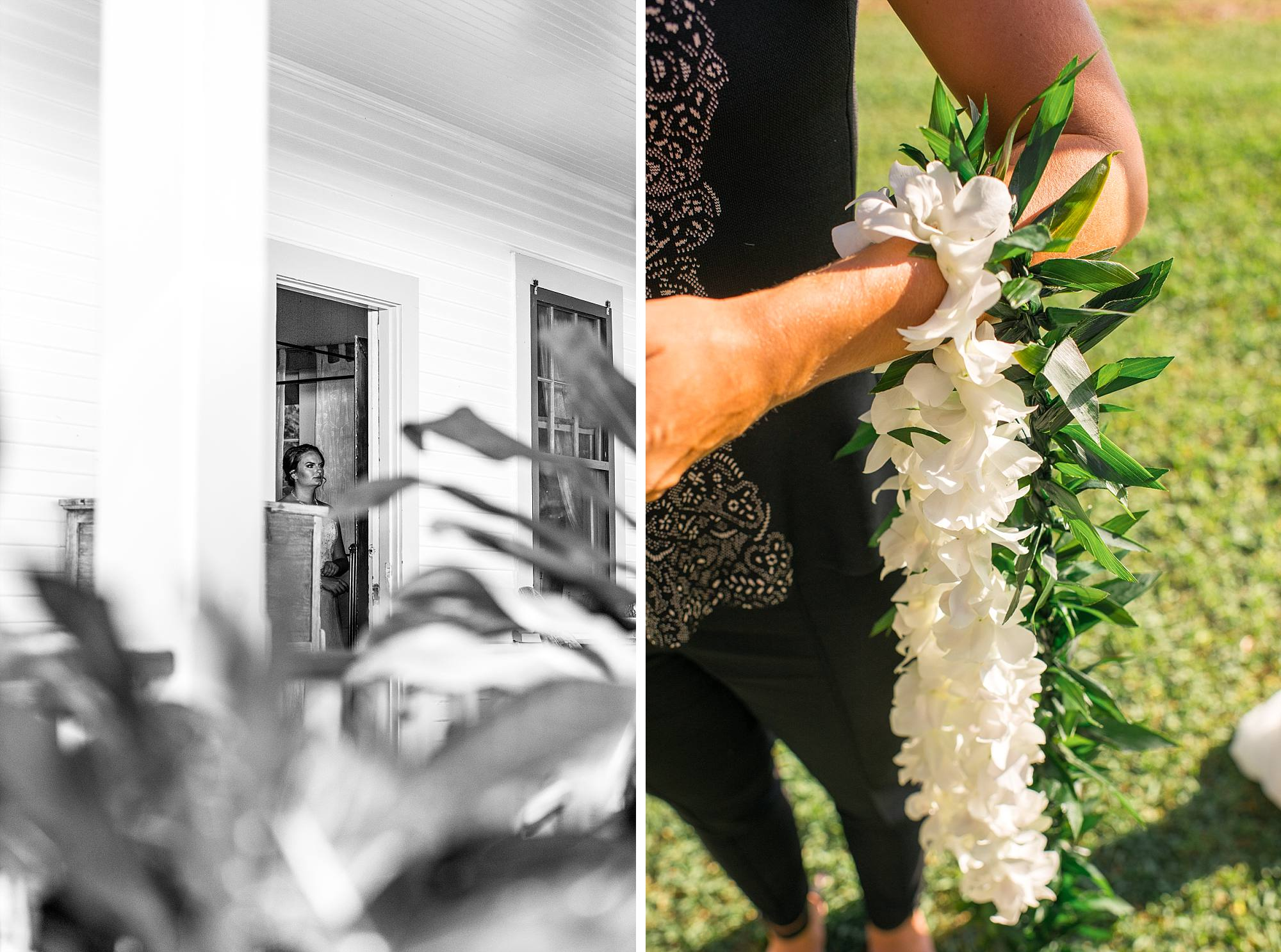 bride ready to come out and minister holding leis on her arm