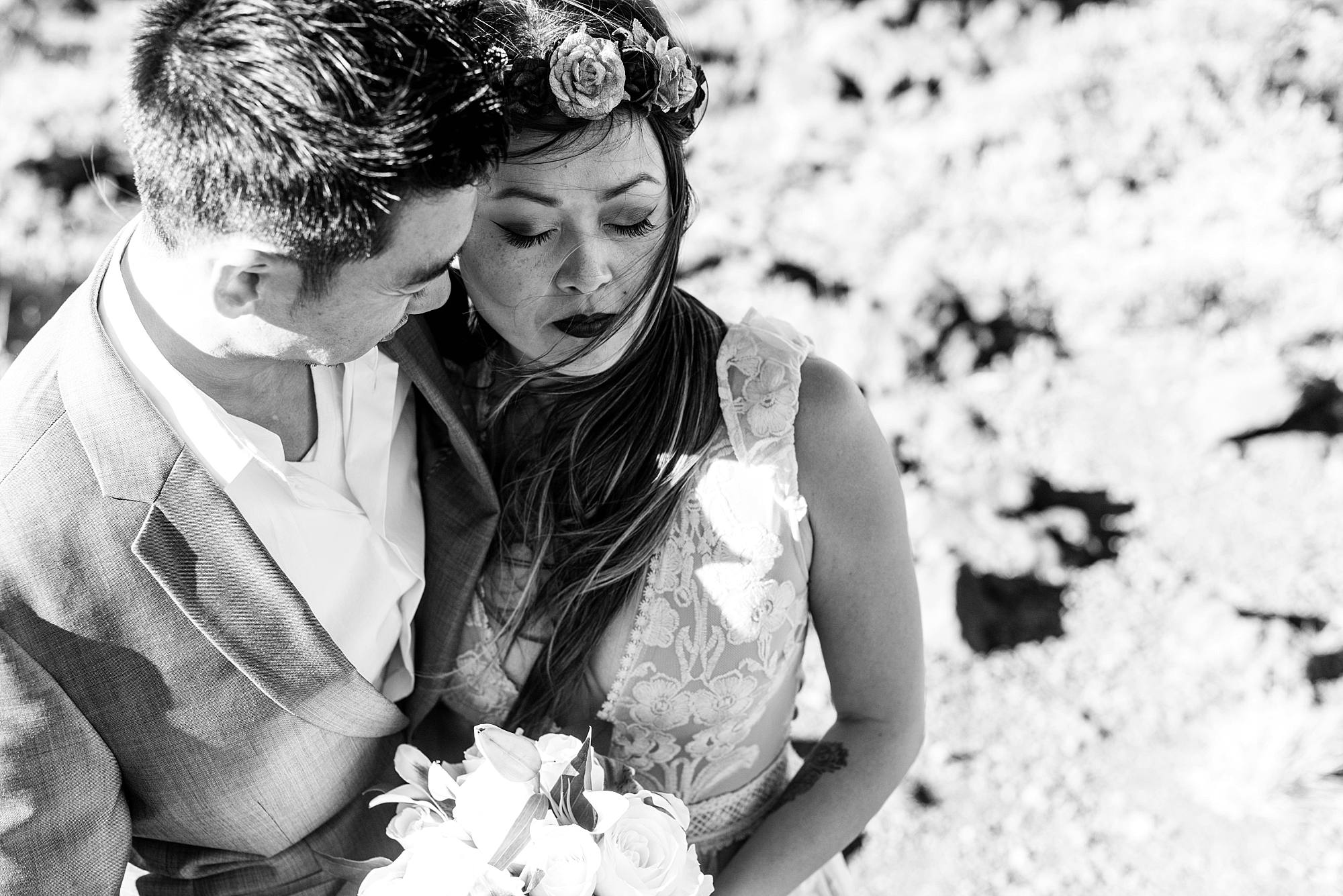 black and white close up of wedding couple