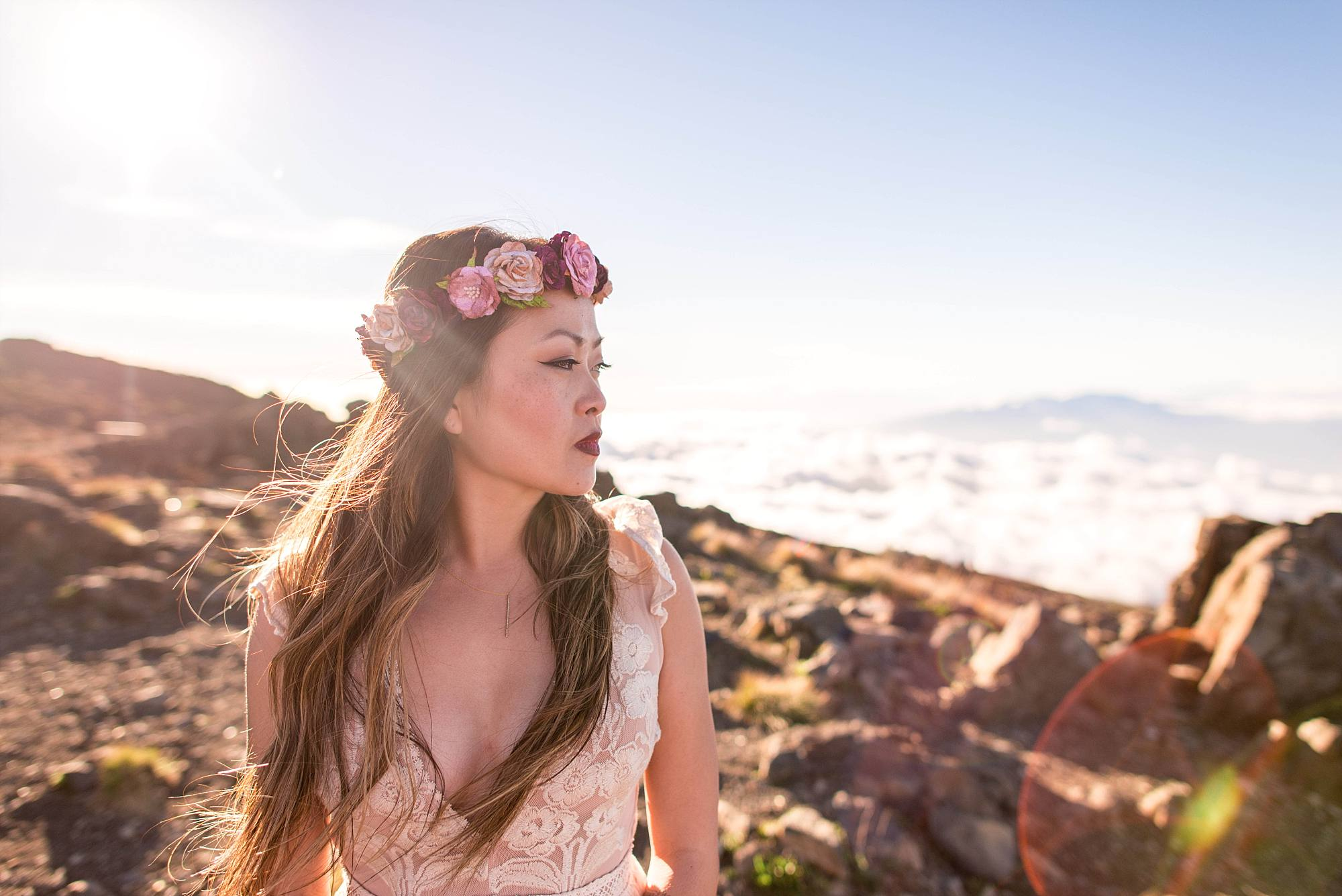 profile shot of bride with flower headpiece