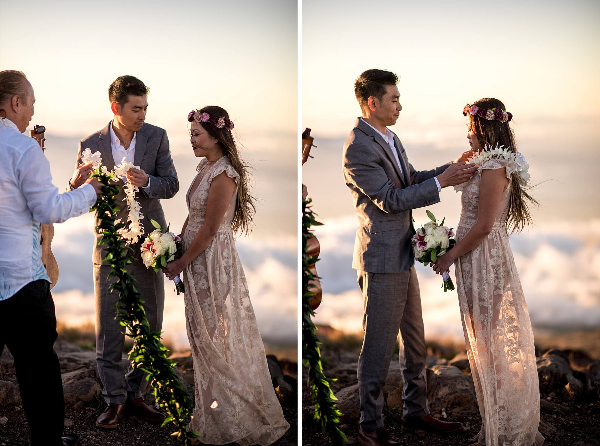 couple presenting leis to each other at their wedding