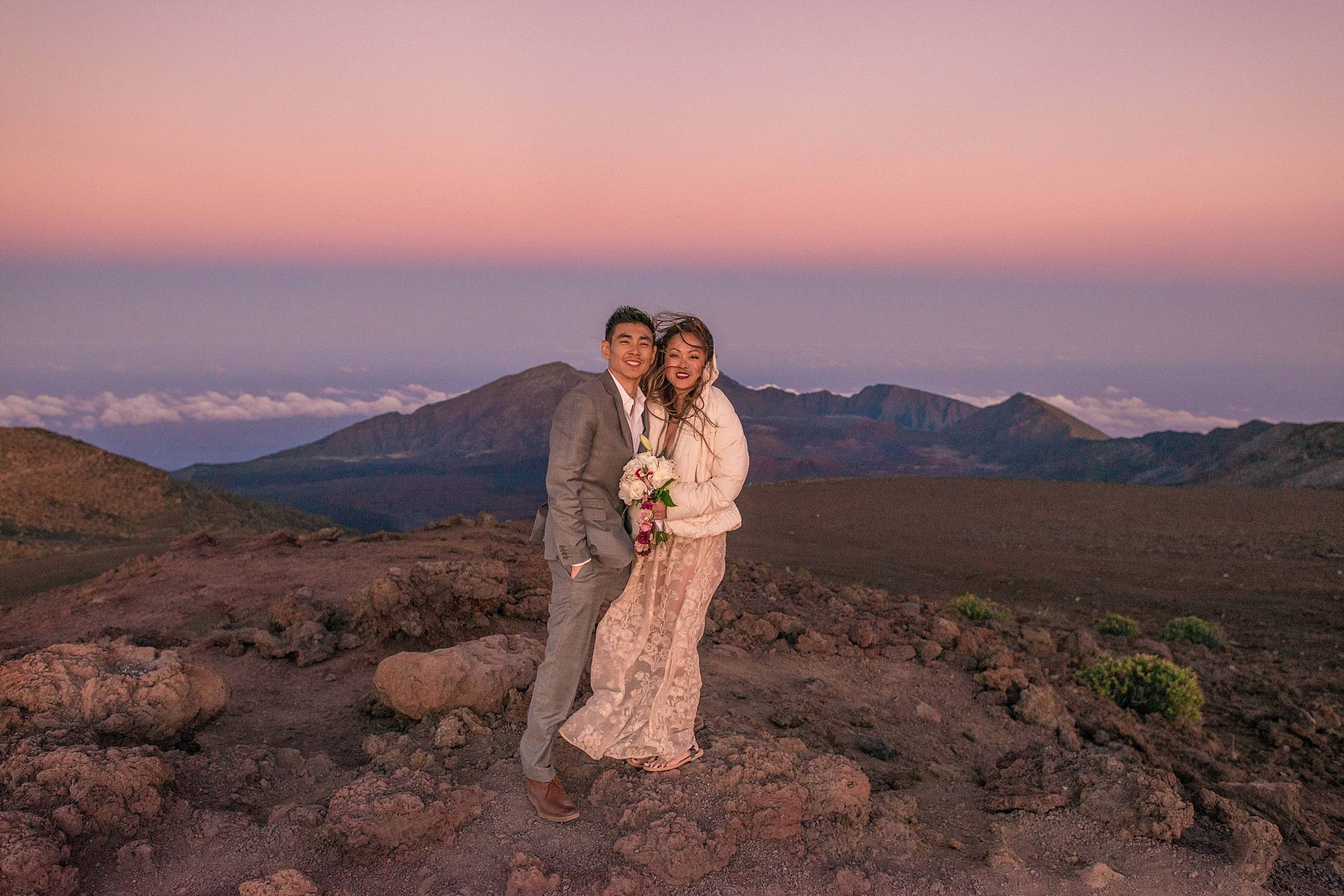 cold bride and groom on top of Haleakala