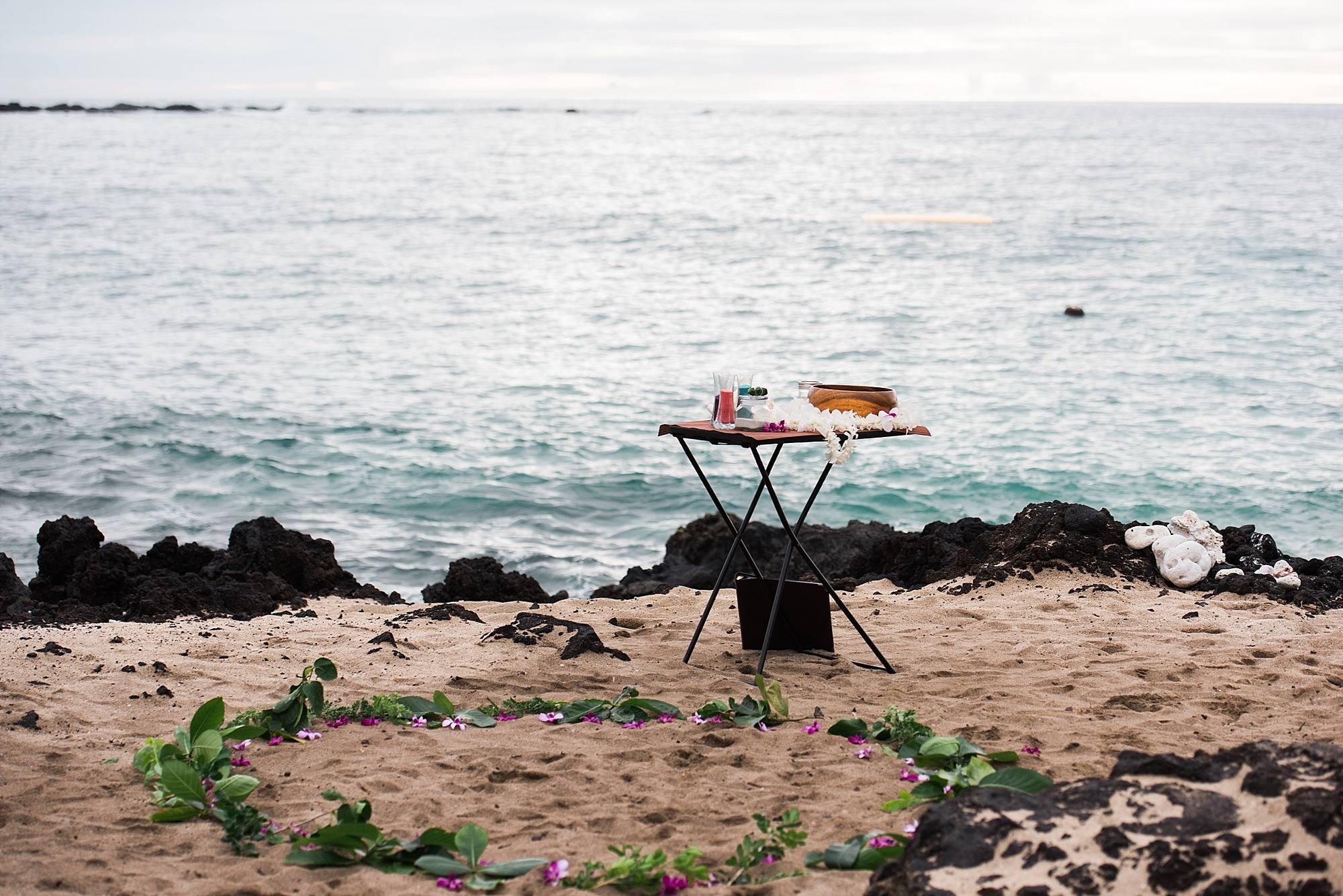 Big Island wedding setup