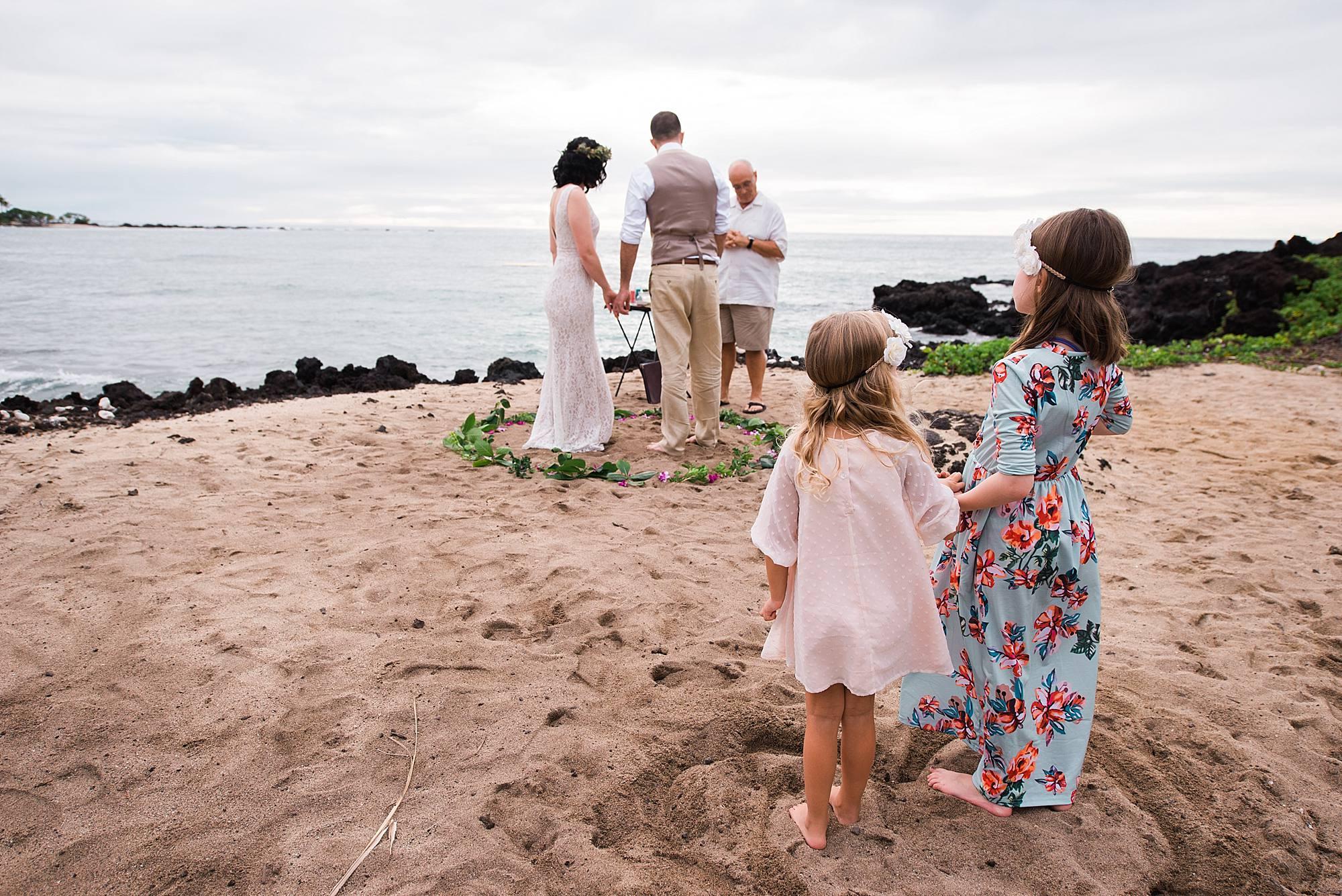 wedding ceremony at kukio beach
