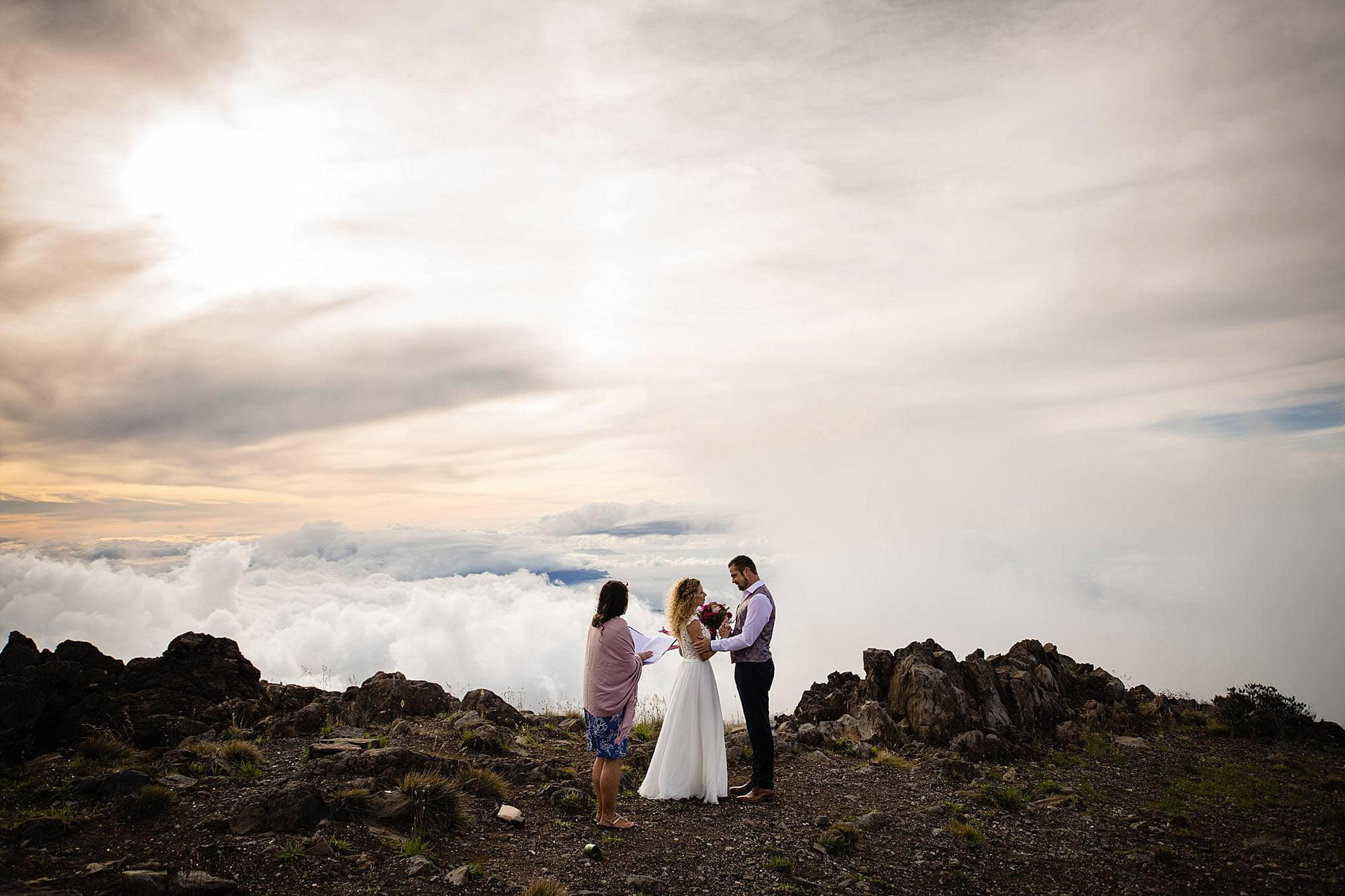 wedding ceremony above the clouds