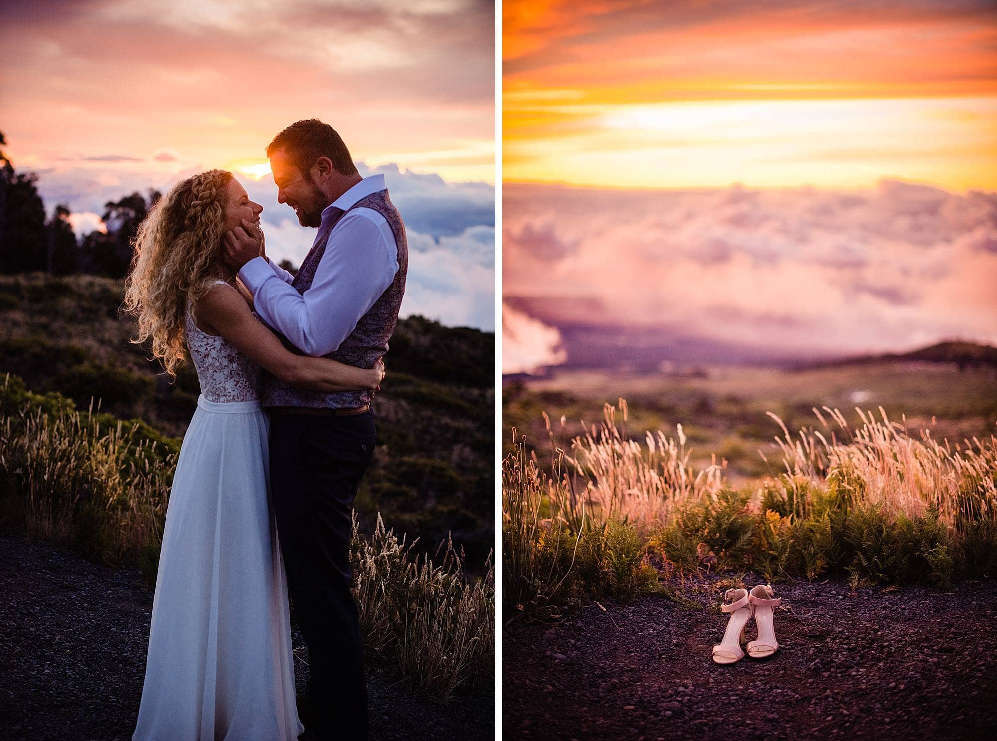 bride and groom enjoying sunset on haleakala