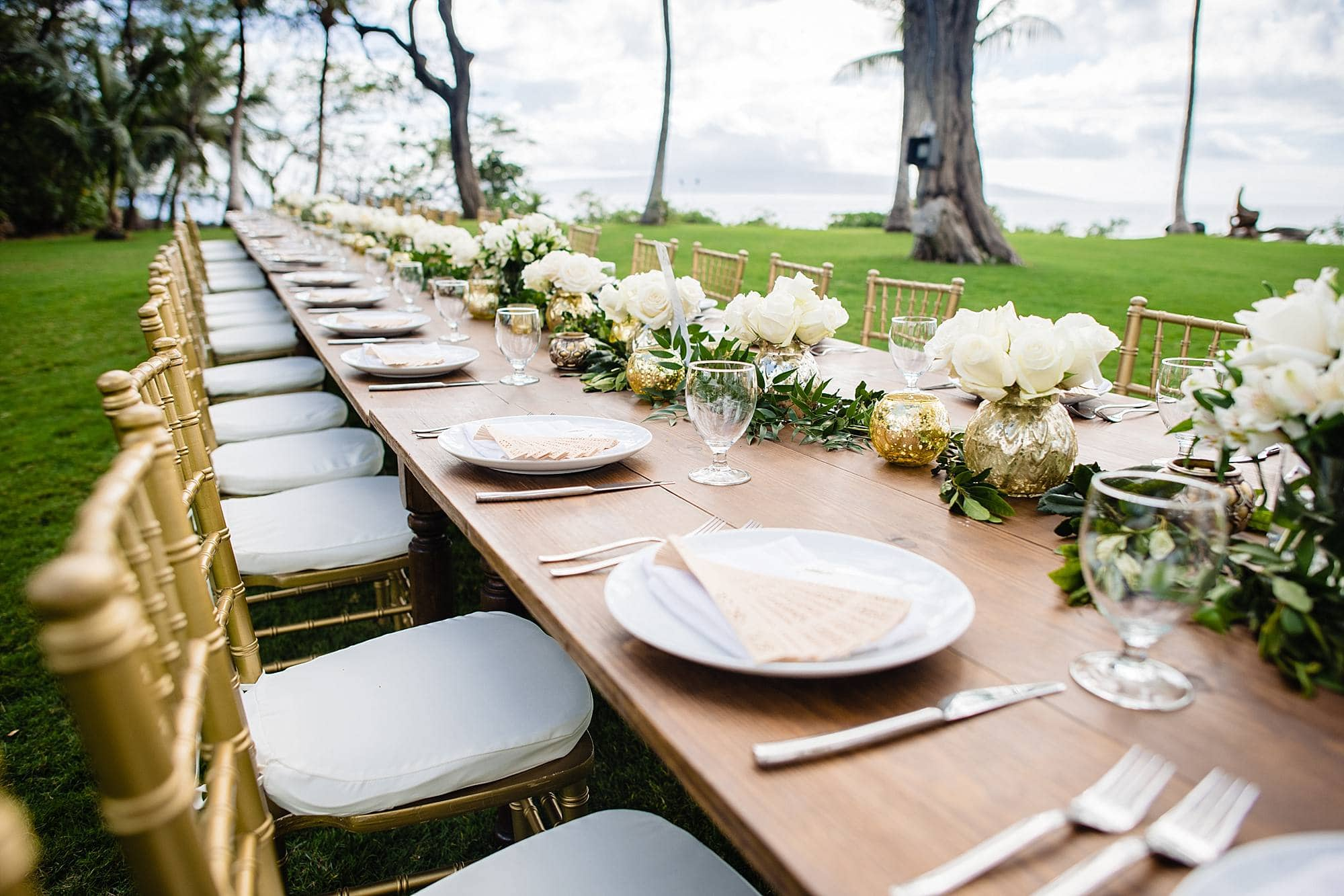 elegant table settings at ponomakena sanctuary