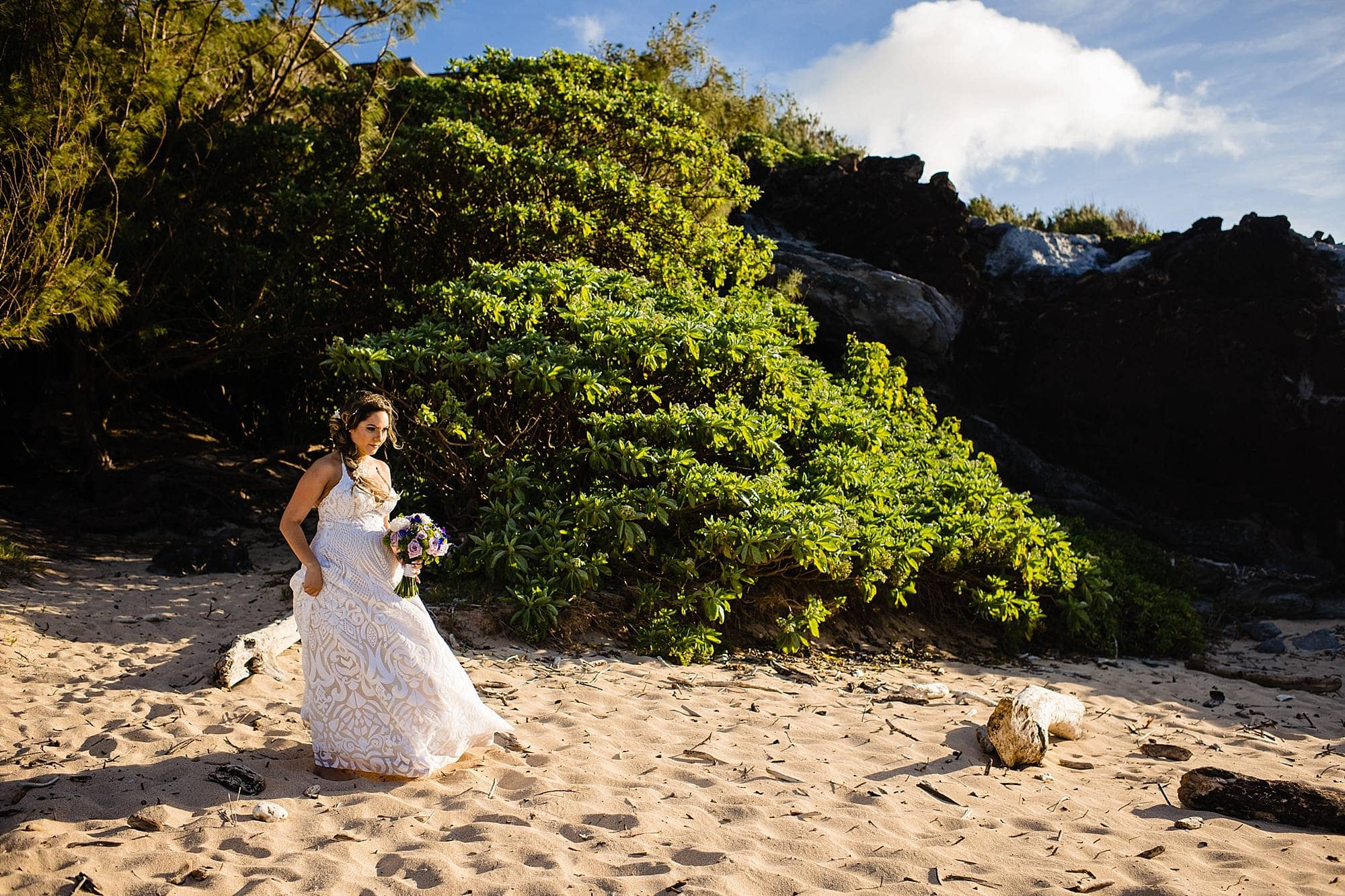 bride at oneloa beach
