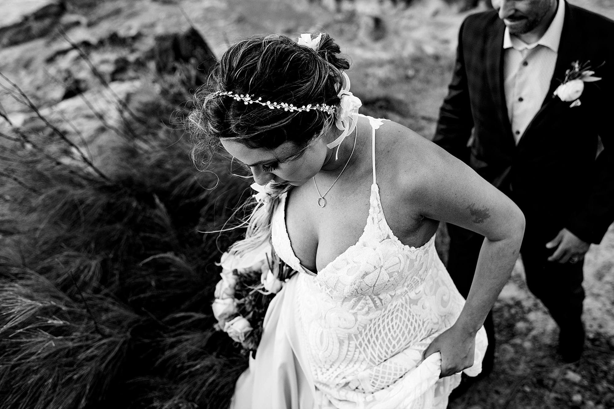black and white image of bride