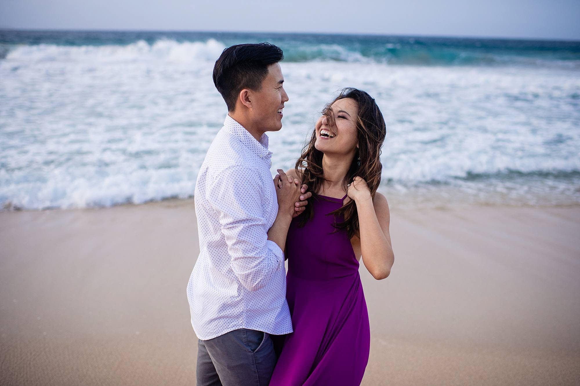 windy maui engagement session