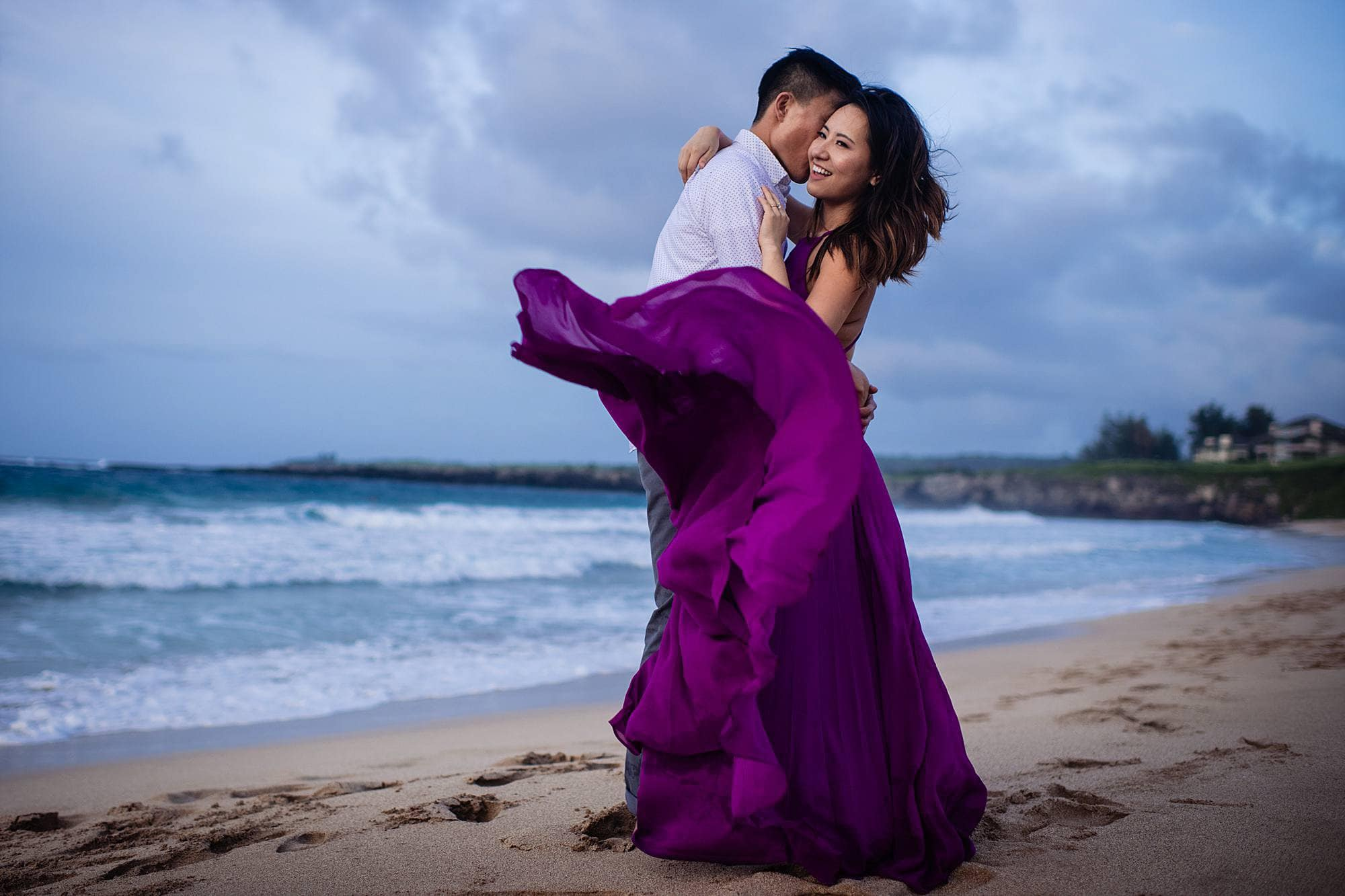 couples portrait with flowy purple dress