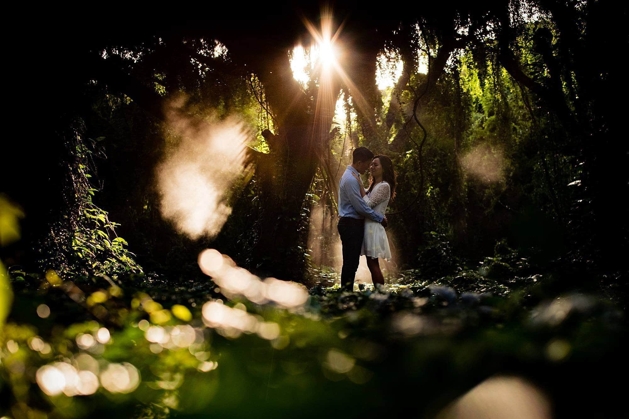 engagement photos in maui jungle with atmosphere aerosol