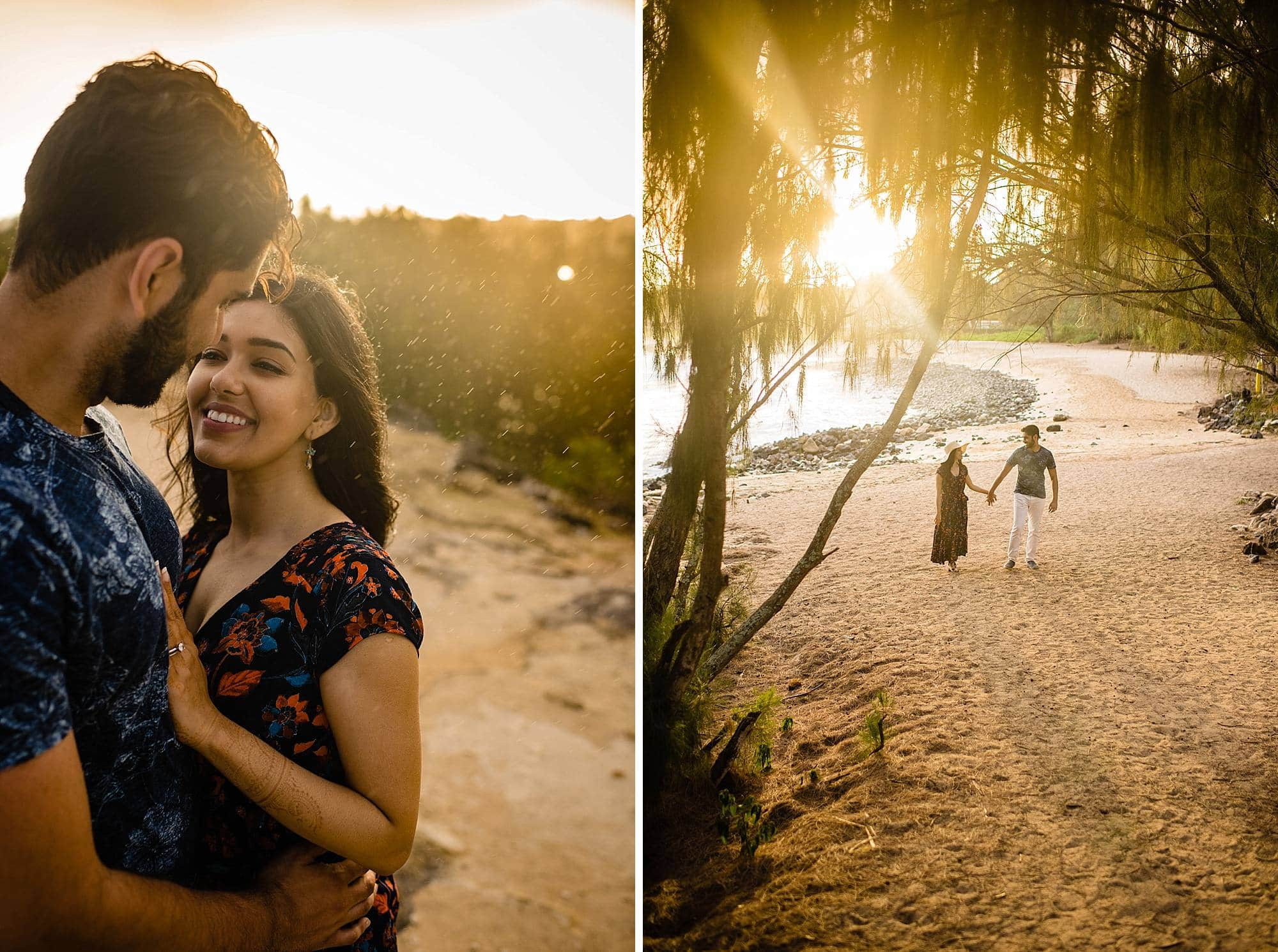 rainy engagement photo session on kauai