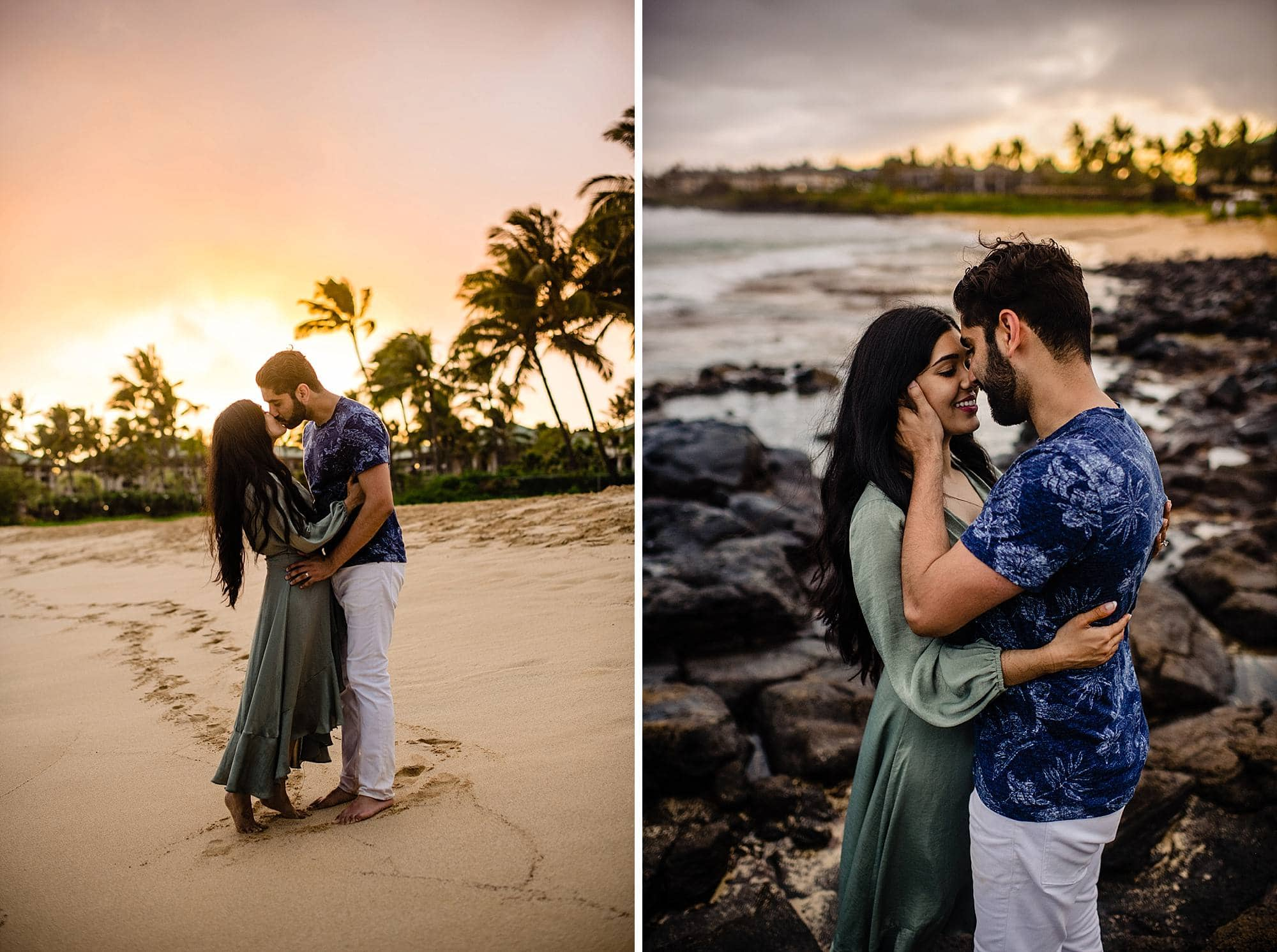 couple kissing on the beach in kauai