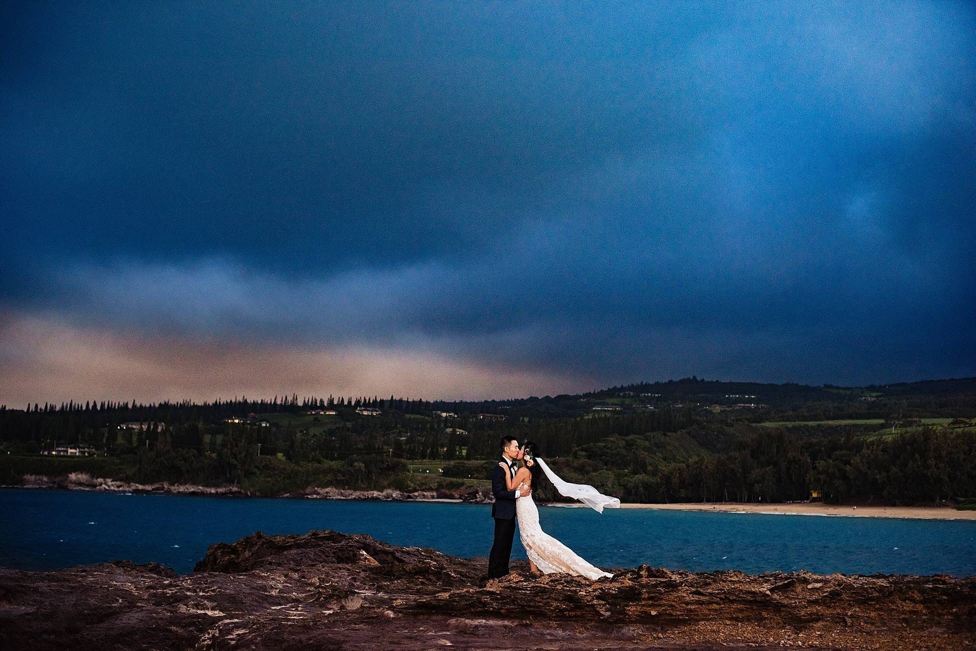 romantic bridal portraits at Steeple House Kapalua