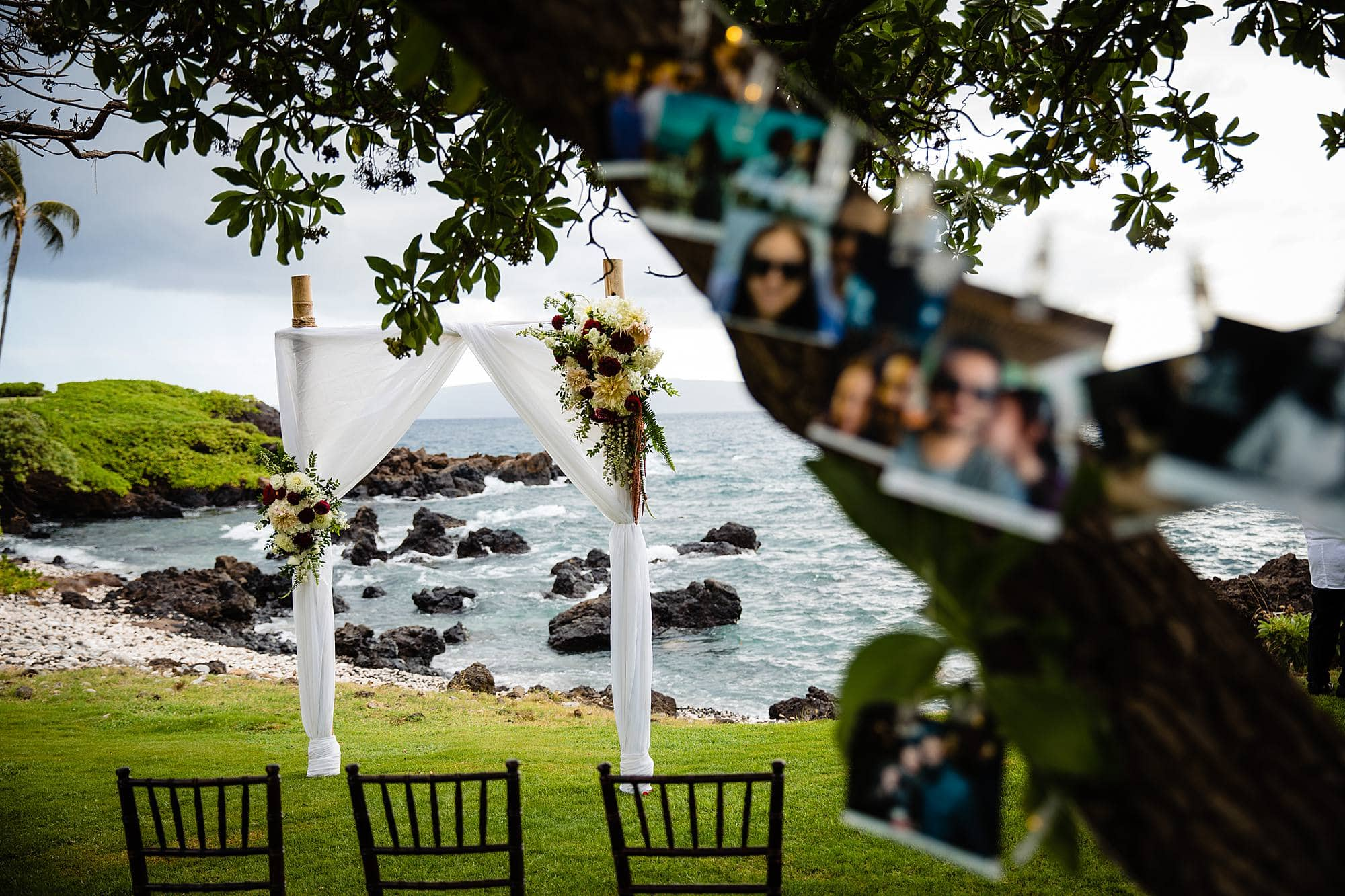 simple arch setup at kukahiko estate in maui, hawaii