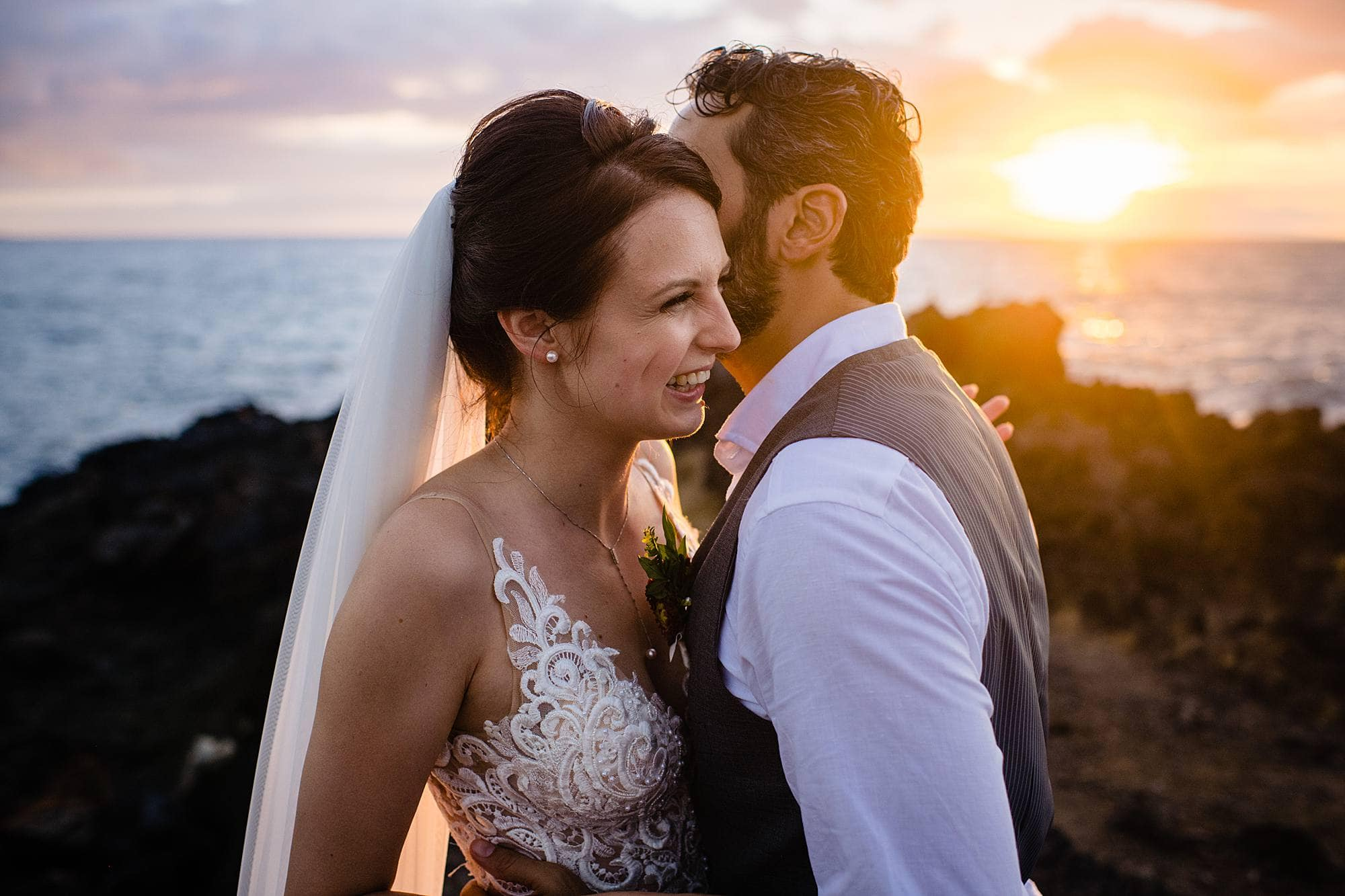 sunset portraits on wedding day in maui