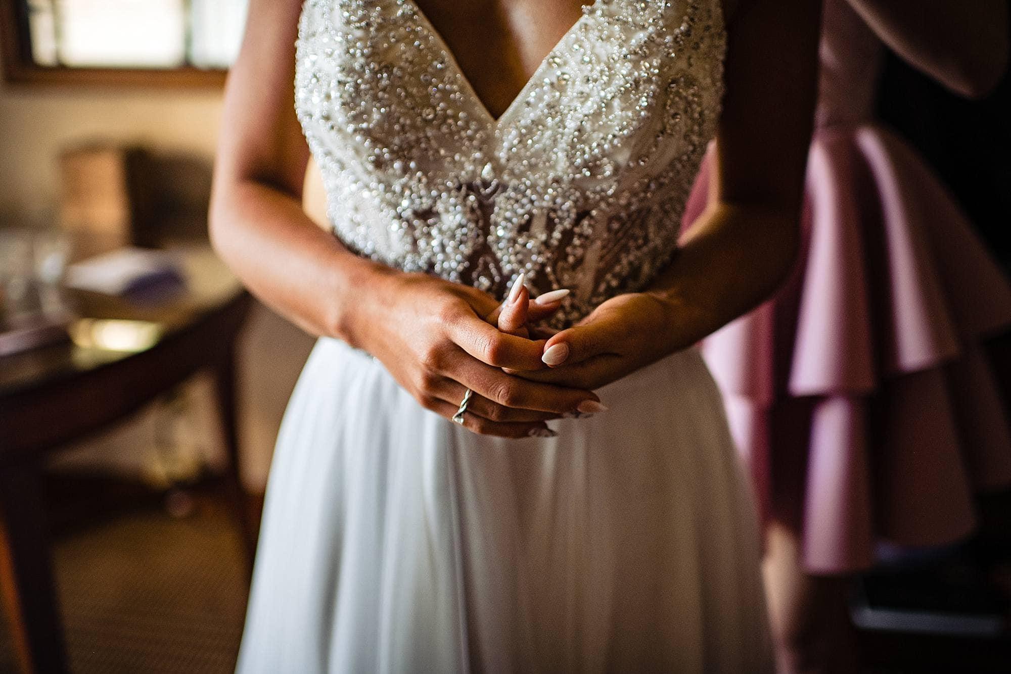 bride's hands before ceremony