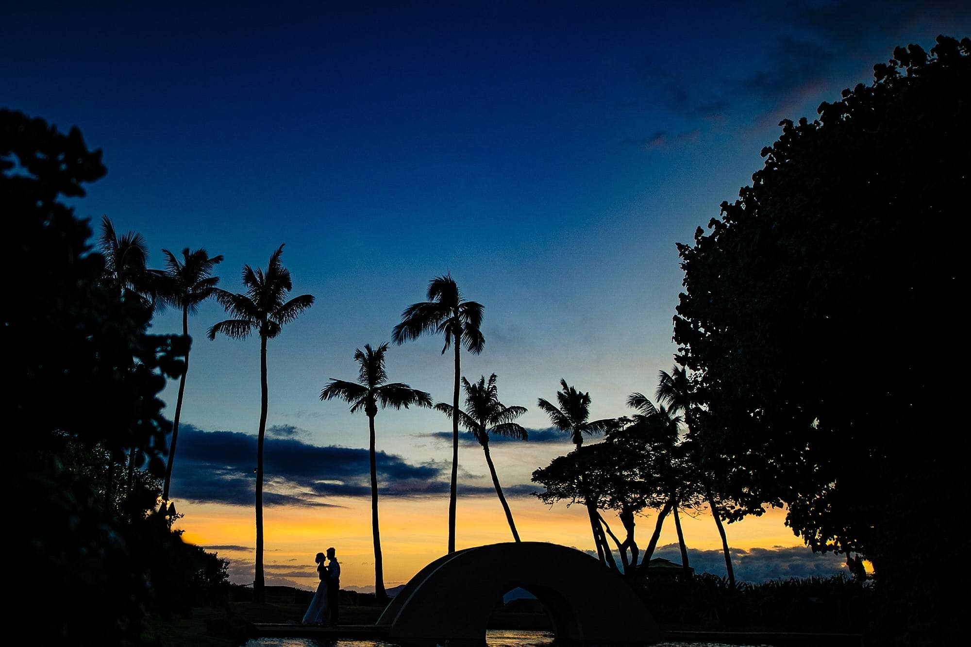 bride and groom romantic portrait at hyatt maui