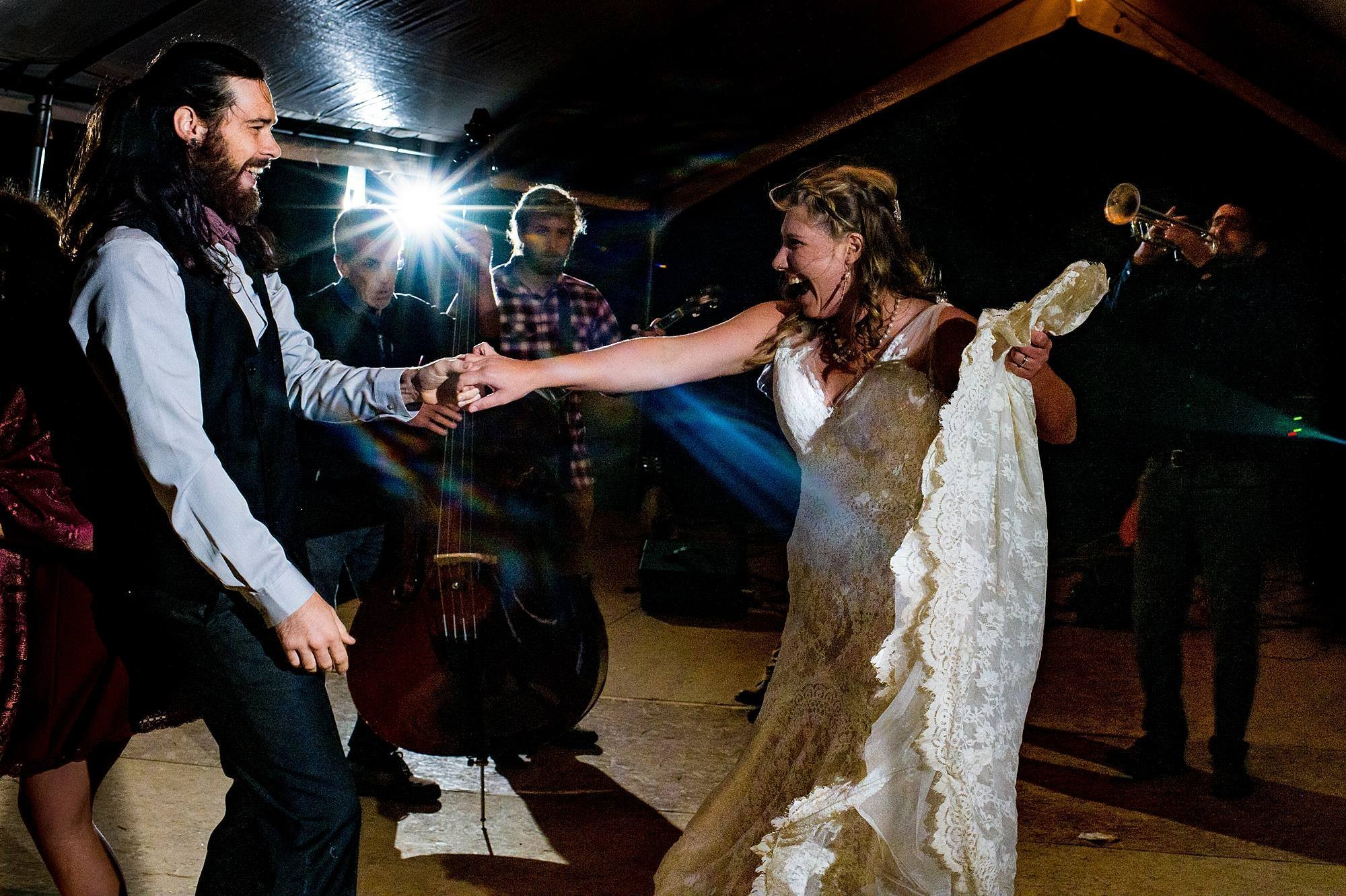 couple dancing at their west michigan wedding reception