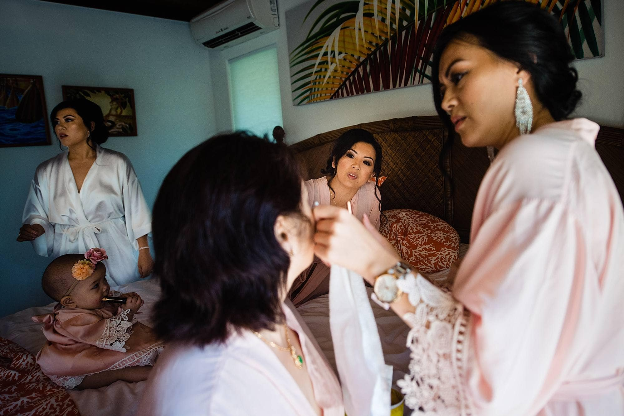 pink bridesmaids robes for getting ready