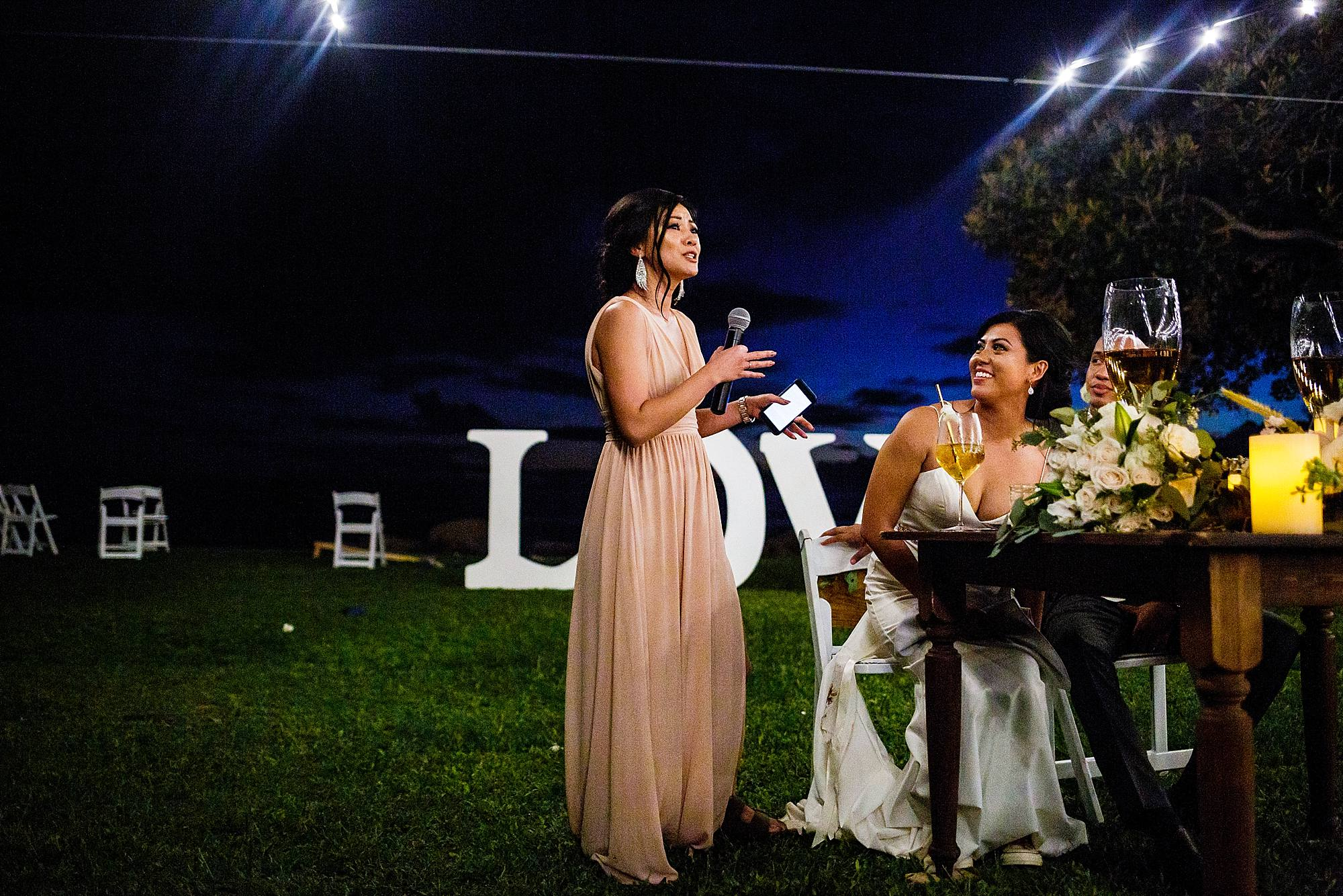 maid of honor speech at olowalu plantation house