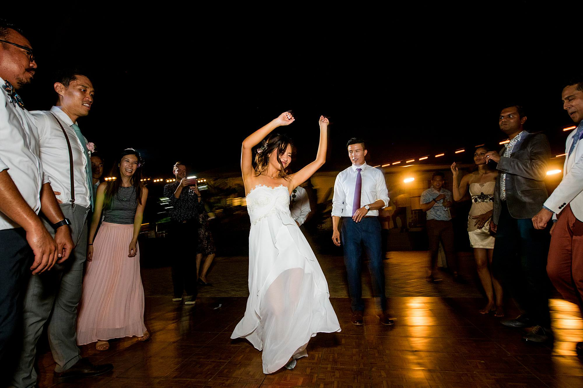 bride dancing at Olowalu Plantation House